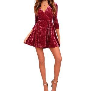 Lulu's Wine Red Crushed Velvet Wrap Dress Sz XL